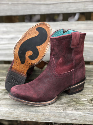 Corral Women's Distressed Wine Shortie Ankle Boots C3416 - Painted Cowgirl Western Store