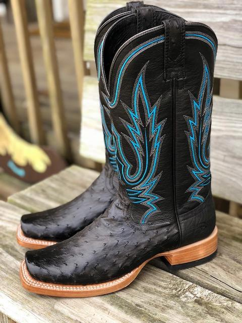 Ariat Men's Relentless All Around Black Full Quil Ostrich Square Toe Boots 10021666 - Painted Cowgirl Western Store