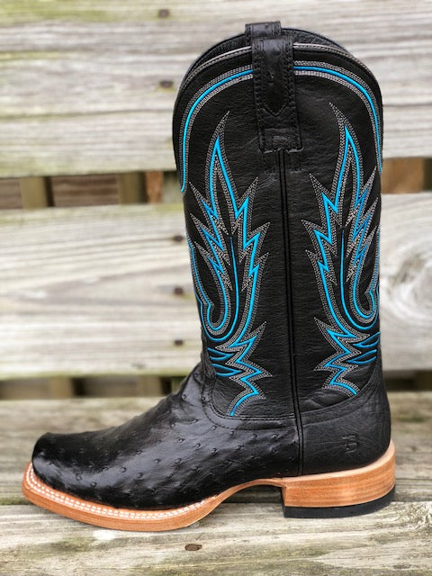 Ariat Men's Relentless All Around Black Full Quil Ostrich Square Toe Boots 10021666