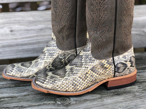 Load image into Gallery viewer, Anderson Bean Men's Genuine Diamondback Rattlesnake Square Toe Western Boots 4220M