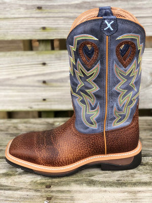 Twisted X Men's Distressed Peanut & Navy Lite Soft Square Toe Western Boots MLCW016 - Painted Cowgirl Western Store