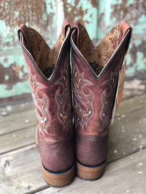 Load image into Gallery viewer, Corral Women's Chocolate Brown Shedron Embroidery Square Toe Western Boots A3432