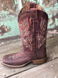 Corral Women's Chocolate Brown Shedron Embroidery Square Toe Western Boots A3432