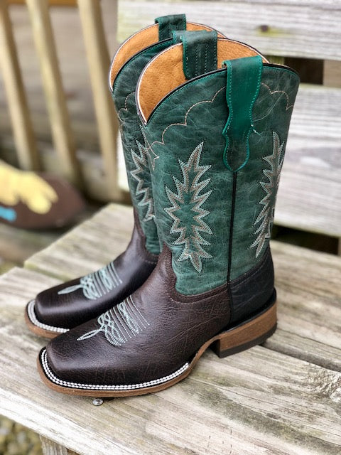 Corral Youth Tyson Durfey Chocolate & Hunter Green Square Toe Western Boots T0018 E1479