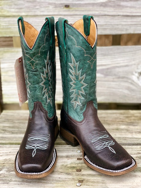 Corral Youth Tyson Durfey Chocolate & Hunter Green Square Toe Western Boots T0018 E1479 - Painted Cowgirl Western Store