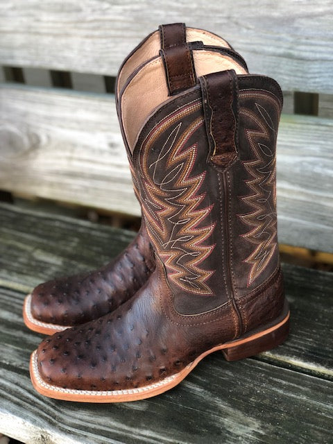 Durango Men's Antique Saddle Full Quill Ostrich Square Toe Western Boots DDB0274