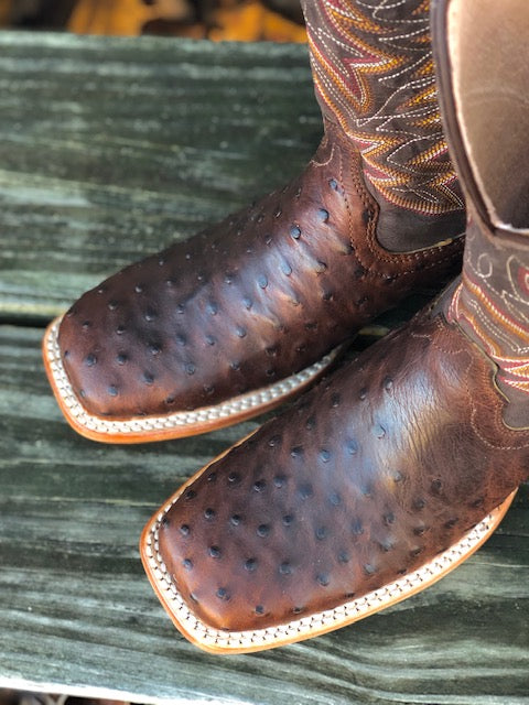 Durango Men's Antique Saddle Full Quill Ostrich Square Toe Western Boots DDB0274 - Painted Cowgirl Western Store