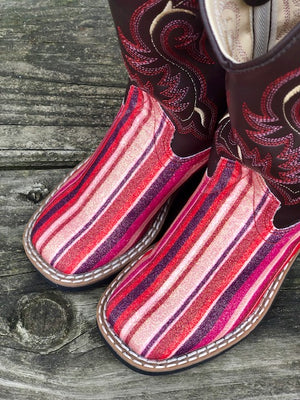 Old West Youth Chocolate & Pink Serape Glitter Square Toe Western Boots VB9146
