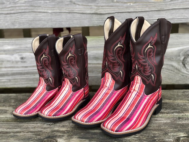 Old West Youth Chocolate & Pink Serape Glitter Square Toe Western Boots VB9146 - Painted Cowgirl Western Store