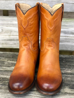 Stetson Men's Puncher Burnished Tan Round Toe Western Boots 7605-3757 - Painted Cowgirl Western Store