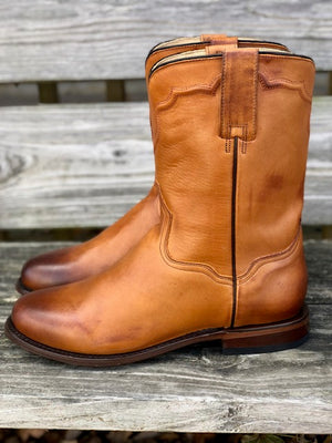 Stetson Men's Puncher Burnished Tan Round Toe Western Boots 7605-3757