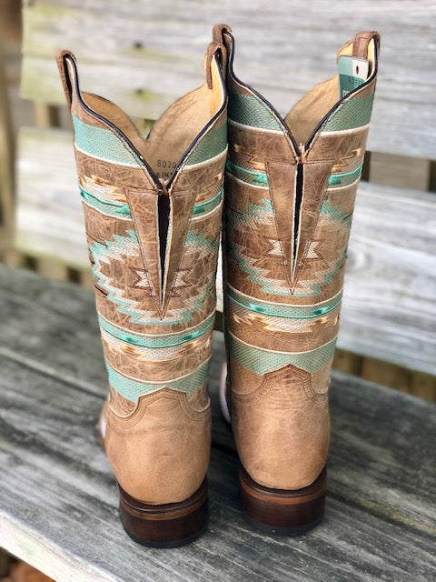 Load image into Gallery viewer, Roper Women's Flex Mesa Waxy Tan Aztec Wide Calf Square Toe Boots 8020-1547