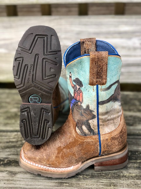 Roper Youth Bucking Brahma Distressed Brown Square Toe Western Boots 7019-1627 - Painted Cowgirl Western Store