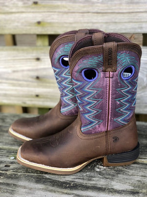 Load image into Gallery viewer, Durango Youth Lil' Rebel Pro Amethyst & Brown Square Toe Western Boots DBT0225Y DBT0225C