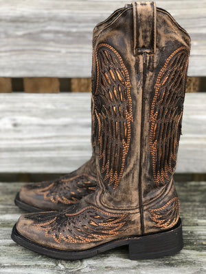 Corral Women's Distressed Brown Wings & Cross Square Toe Biker Boot A3727