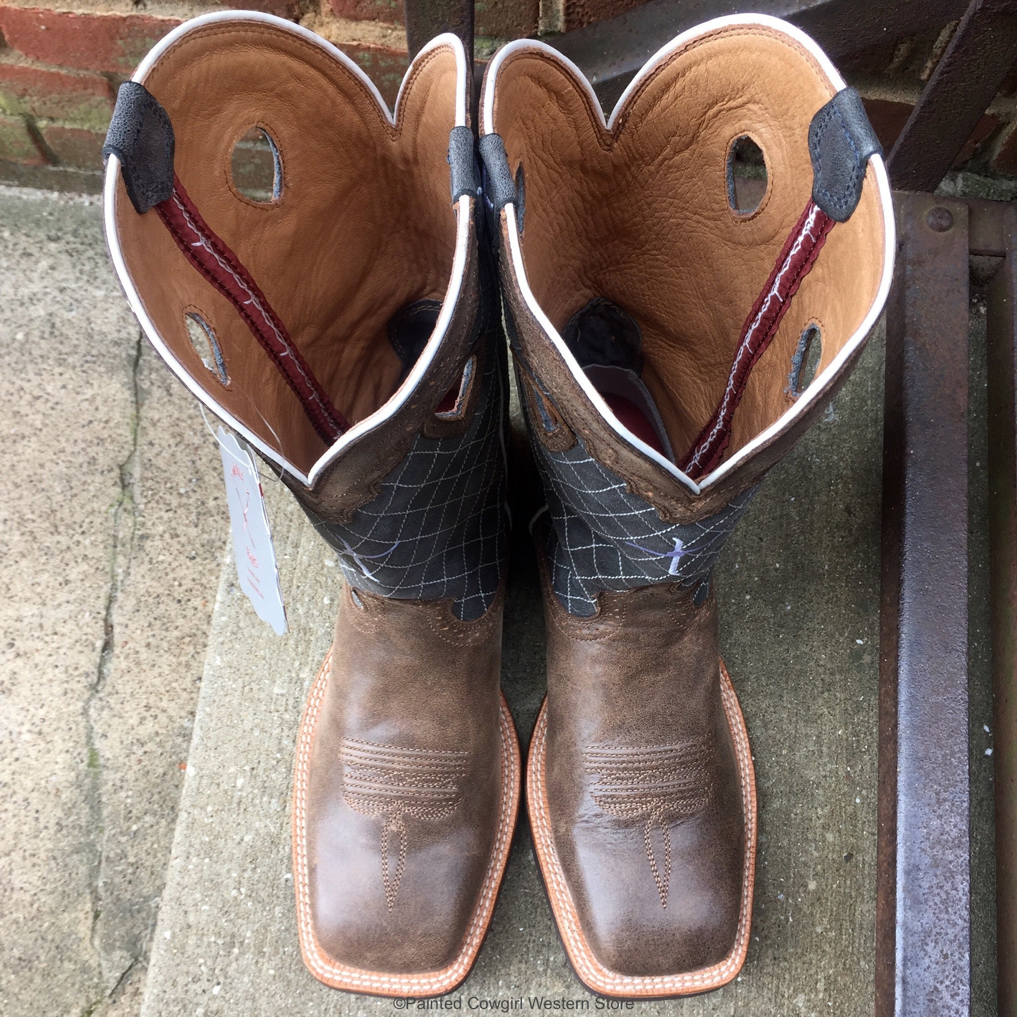 Twisted X Menu0026#39;s Ruff Stock Brown Bomber and Blue Western Boots MRS0027 | Cowboy Boots and ...
