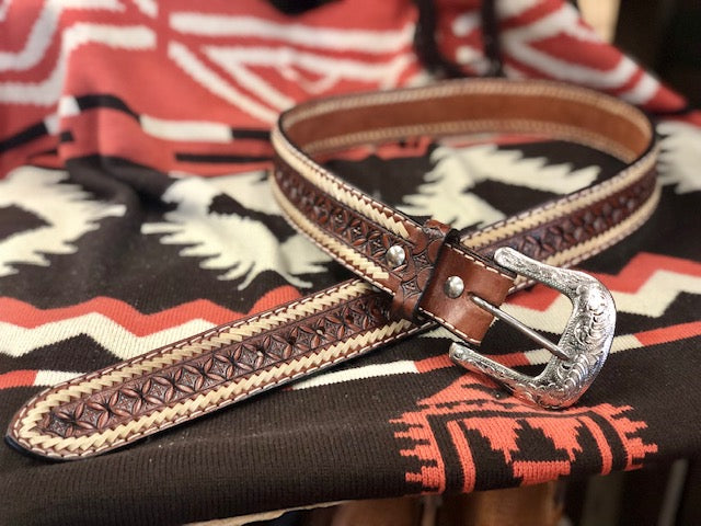 Ranger Belt Company Cognac Tooled Whipstitched Western Belts IB1022C - Painted Cowgirl Western Store