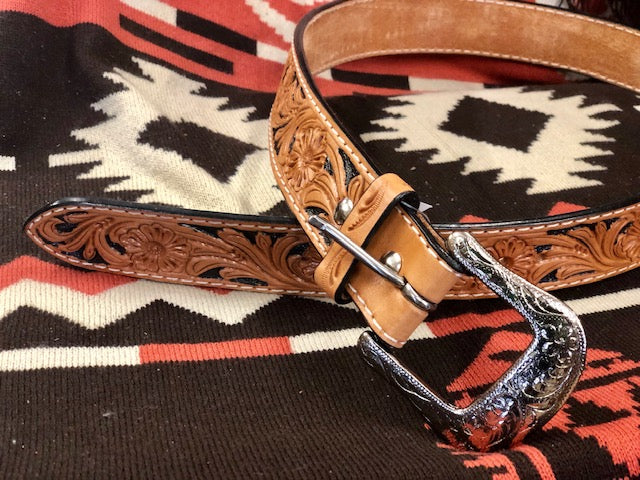 Twisted X Tan & Black Tooled Leather Western Belt XIBN-2