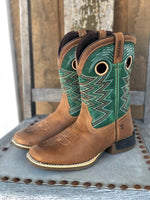 Durango Youth Lil Rebel Pro Wheat & Tidal Teal Square Toe Western Boots DBT0224Y