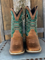 Durango Youth Lil Rebel Pro Wheat & Tidal Teal Square Toe Western Boots DBT0224Y - Painted Cowgirl Western Store