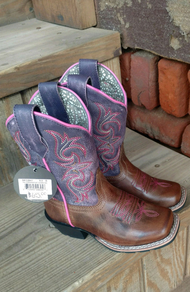 "Dan Post Kid's ""Majesty"" Brown/Purple Leather Cowgirl Boots DPC2947 DPC3947 DPC1947"