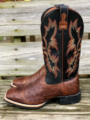 Ariat Men's Quantum Classic Brown Ostrich Square Toe Western Boots 10025102 - Painted Cowgirl Western Store