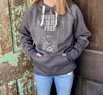 Cowgirl Tuff Unisex Born Free Charcoal Hooded Sweatshirt SIG2002