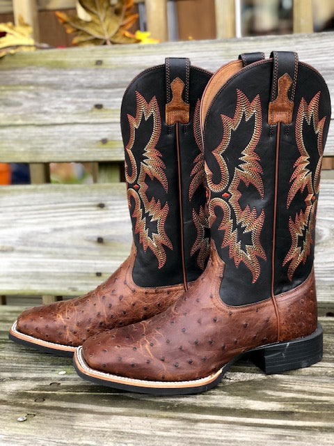 Load image into Gallery viewer, Ariat Men's Quantum Classic Brown Ostrich Square Toe Western Boots 10025102 - Painted Cowgirl Western Store