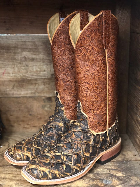 Anderson Bean Women's Rusty Crush Big Bass & Perfect Tan Tooled Square Toe Boots 320153