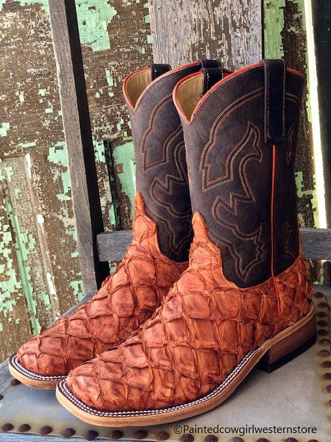 Anderson Bean Men's Ember & Chocolate Big Bass Square Toe Western Boots 328546