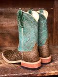 Anderson Bean Women's Antique Saddle Ostrich & Dark Sage Square Toe Boots 320157