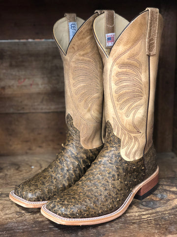 0d42e946d0f70 Anderson Bean Men s Antique Saddle Ostrich and Tan Sinsation Square Toe  Boots 320156