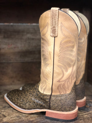 Anderson Bean Men's Antique Saddle Ostrich and Tan Sinsation Square Toe Boots 320156