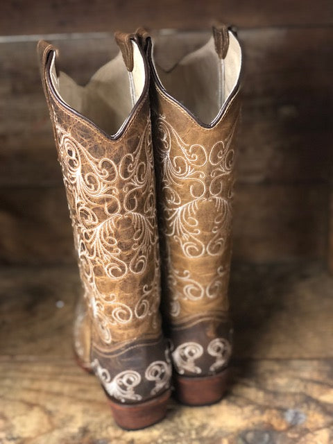 Circle G by Corral Women's Tan Scroll Embroidered Snip Toe Western Boots L5418 - Painted Cowgirl Western Store