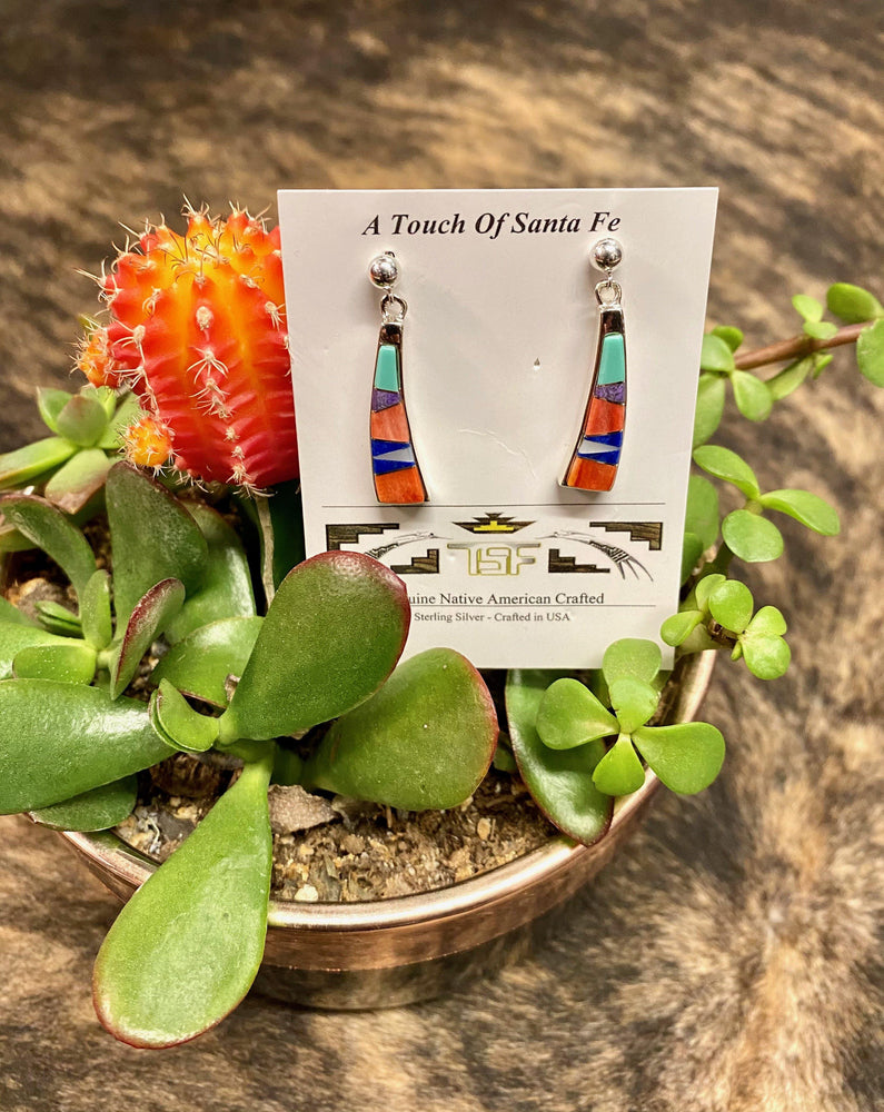 A Touch Of Santa Fe Women's Banana-Like Genuine Native American Crafted Sterling Silver Earrings E14