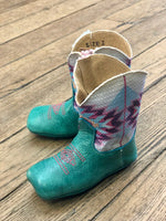 Roper Infant Cowbabies Turquoise & Aztec Square Toe Boots 7907-1382 - Painted Cowgirl Western Store