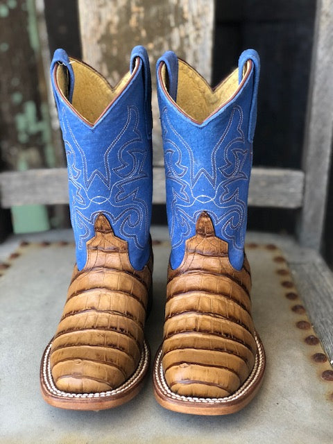 HorsePower Youth Toasted Caiman Print & Royal Blue Square Toe Boots HPK1842 - Painted Cowgirl Western Store