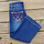Cowboy Hardware Toddler Girl's Pink Heart Floral Design Bootcut Jeans 802063-450