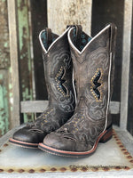 Laredo Women's Distressed Black Spellbound Studded Square Toe Western Boots 5660