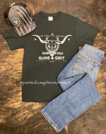 Men's Taming The Wild With Guns And Grit Black Graphic Tee CB-1630