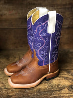 Macie Bean Youth Honey Crazyhorse & Purple Sinsation Square Toe Western Boots MK9302