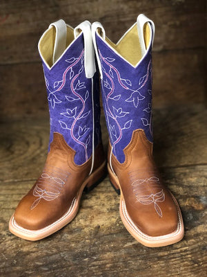Macie Bean Youth Honey Crazyhorse & Purple Sinsation Square Toe Western Boots MK9302 - Painted Cowgirl Western Store