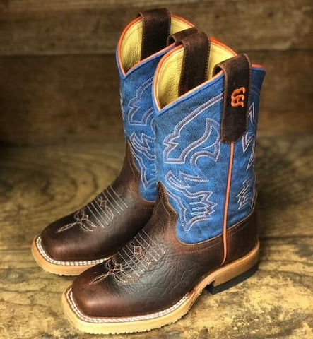 Anderson Bean Youth Blue Mad Dog & Toasted Bison Square Toe Boots ABK3000