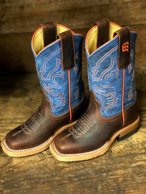 Anderson Bean Youth Blue Mad Dog & Toasted Bison Square Toe Boots ABK3000 - Painted Cowgirl Western Store