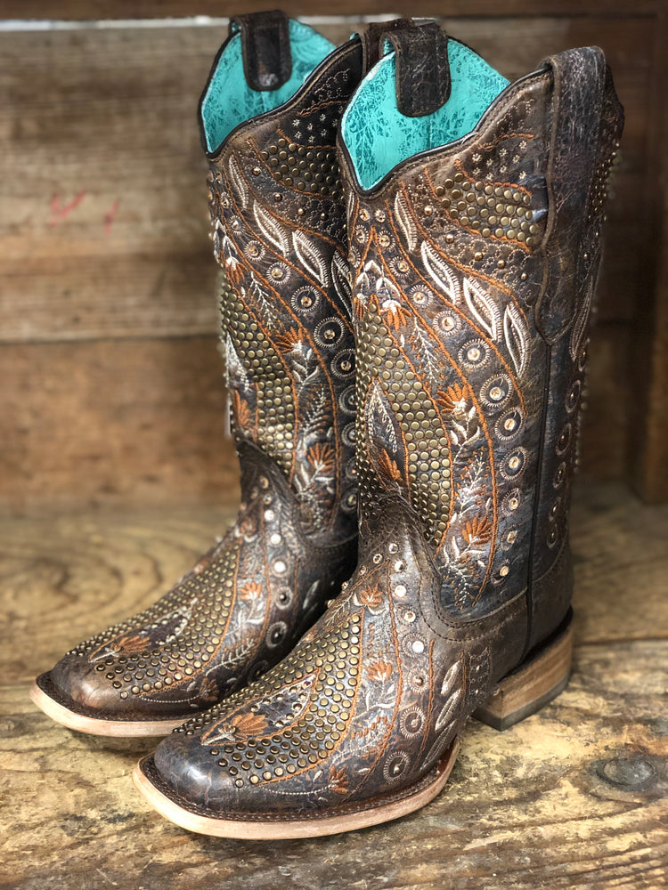 Corral Women's Copper Floral Studded Square Toe Western Boots E1521 - Painted Cowgirl Western Store