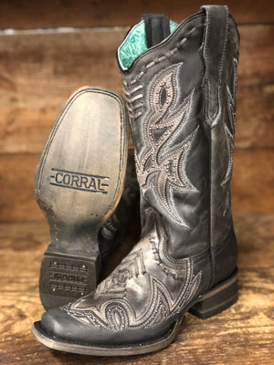 Corral Women's Distressed Black Woven Overlay Square Toe Western Boots E1268 - Painted Cowgirl Western Store
