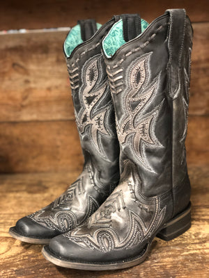 Load image into Gallery viewer, Corral Women's Distressed Black Woven Overlay Square Toe Western Boots E1268 - Painted Cowgirl Western Store