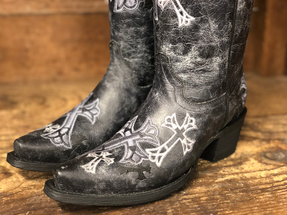 Circle G Women's Distressed Black & White Cross Snip Toe Western Boots L5436