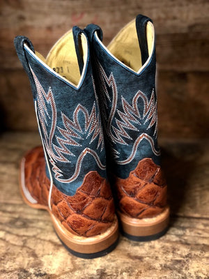 Load image into Gallery viewer, HorsePower Youth Cognac Filet To Fish & Seas the Day Big Bass Print Boots HPK1823 - Painted Cowgirl Western Store