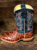 HorsePower Youth Cognac Filet To Fish & Seas the Day Big Bass Print Boots HPK1823